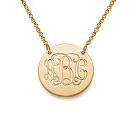 18k Gold Plated Monogram Disc Necklace