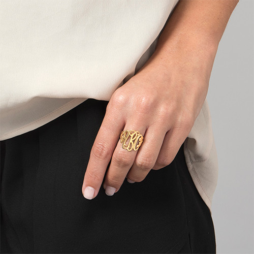 18k Gold Plated Monogrammed Ring - 1