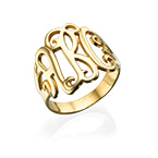18k Gold Plated Monogrammed Ring