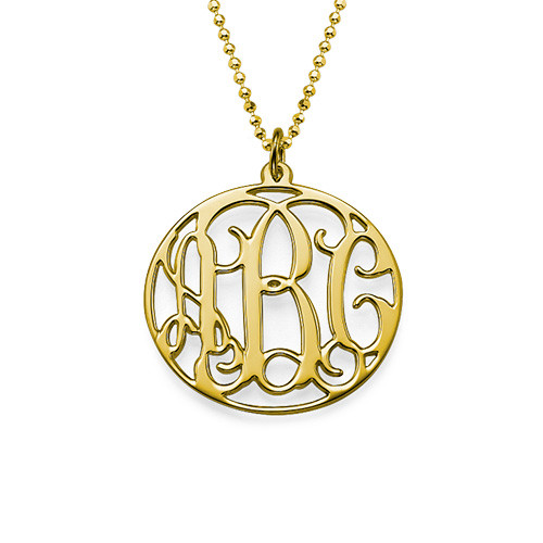 18k Gold Plated Circle Monogram Necklace