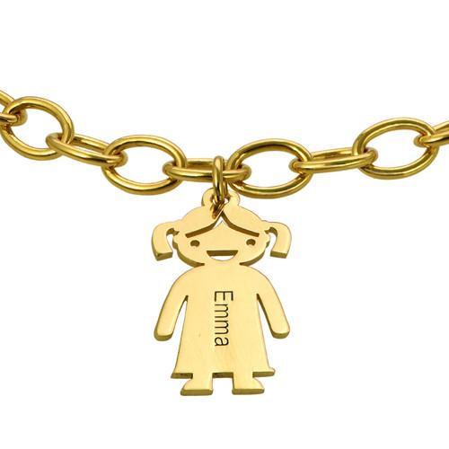 18k Gold Plated Silver Engraved Kids Bracelet - 1