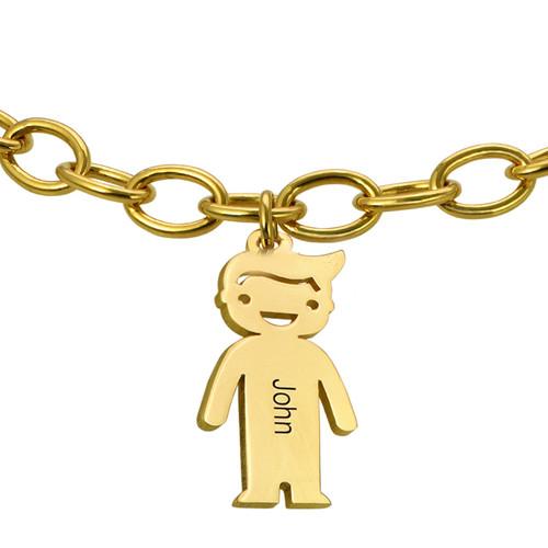 18k Gold Plated Silver Engraved Kids Bracelet - 2