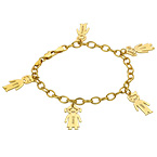 18k Gold Plated Silver Engraved Kids Bracelet