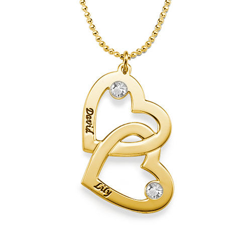 Gold-Plated Heart in Heart Necklace with Birthstones - 1