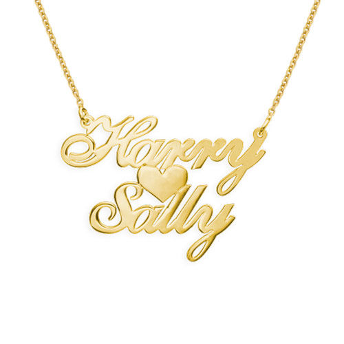 18k Gold Plated Silver Two Names & Heart Pendant