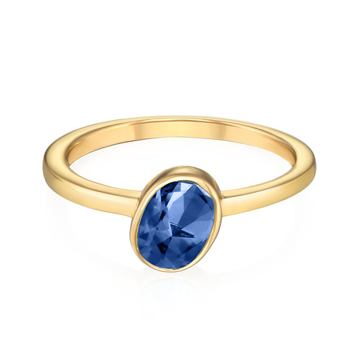 18k Gold Plated Stackable Oval Blue Sapphire Ring - 1