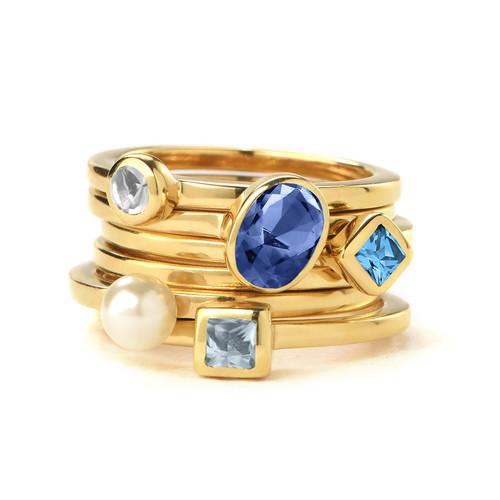 18k Gold Plated Stackable Oval Blue Sapphire Ring - 2