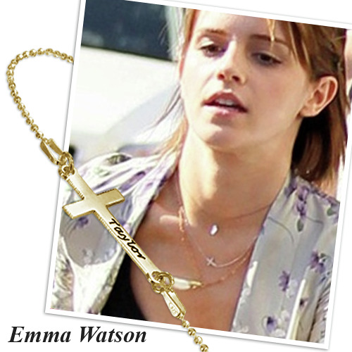 18k Gold Plated Silver Engraved Side Cross Necklace - 2