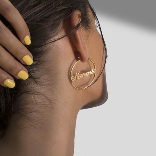 18k Gold Plated Sterling Silver Hoop Name Earrings - 2