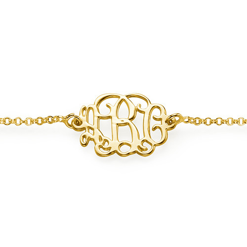 18k Gold Plated Sterling Silver Monogram Bracelet - 1