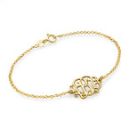 18k Gold Plated Sterling Silver Monogram Bracelet