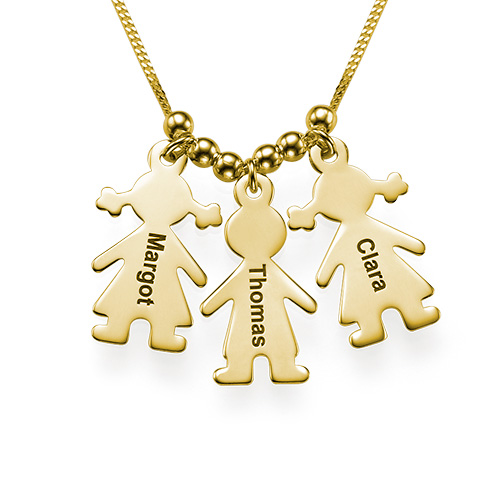 Mother S Necklace With Engraved Children Charms