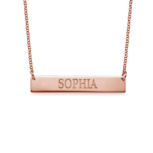 18k Plated Rose Gold Bar Necklace With Engraving
