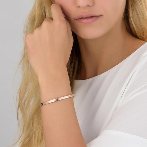 18k Rose Gold Plated Engraved Bangle Bracelet - 1
