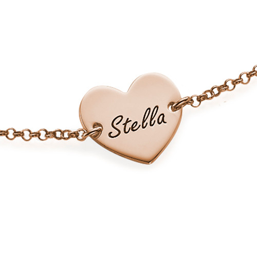18k Rose Gold Plated Engraved Heart Couples Bracelet - 1