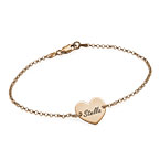 18k Rose Gold Plated Engraved Heart Couples Bracelet