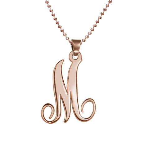 18k Rose Gold Plated Monogram Single Initial Necklace