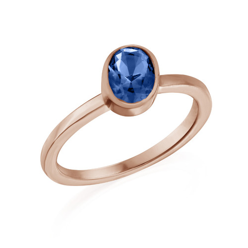 18k Rose Gold Plated Stackable Oval Blue Sapphire Ring
