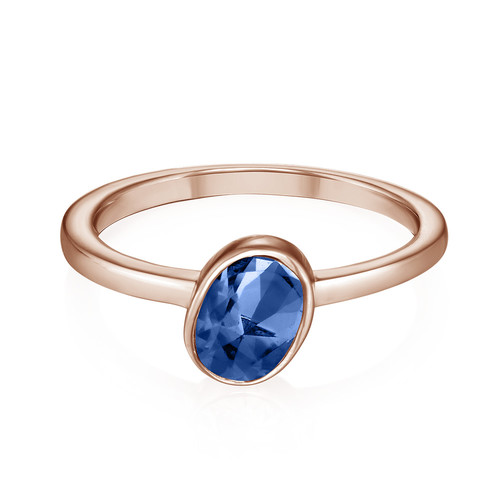 18k Rose Gold Plated Stackable Oval Blue Sapphire Ring - 1