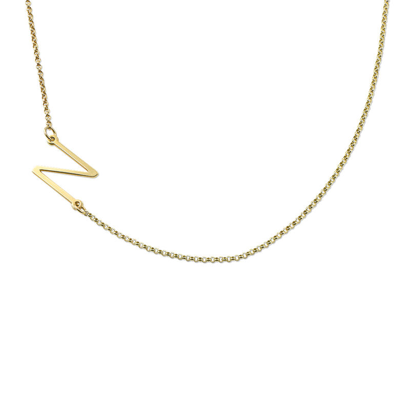 sideways initial necklace in 18k gold plating