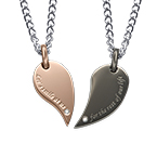 2 Piece Heart Necklace Set for Couples