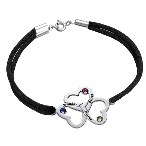 3 Heart Bracelet with Swarvoski Birthstones