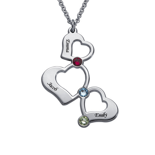 3 Heart Necklace with Birthstones