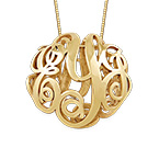 3D Monogram Necklace in 14K Yellow Gold
