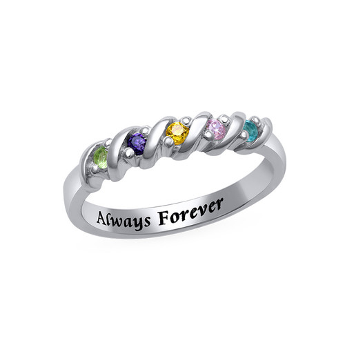 5 Stone Birthstone Ring for Moms