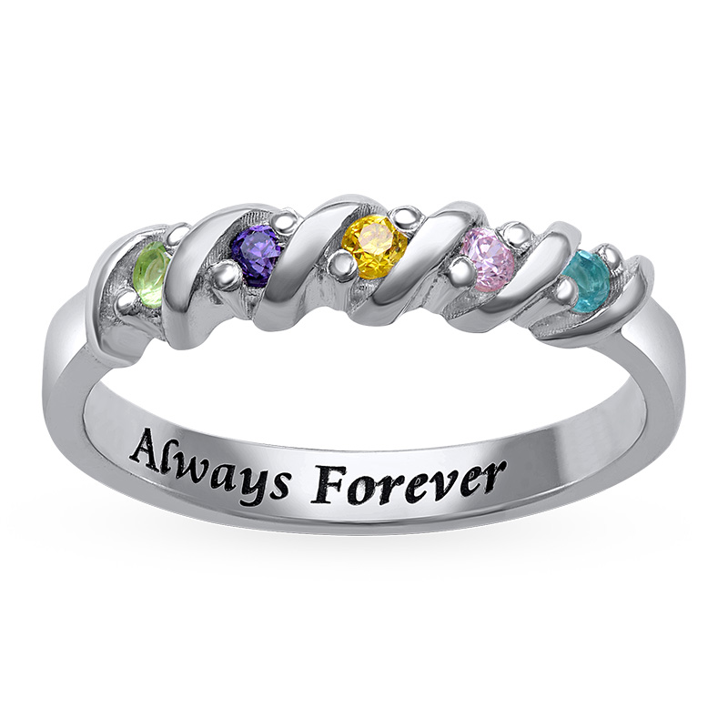 5 Stone Birthstone Ring for Moms - 1