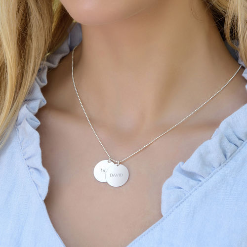 Mother's Jewelry - Personalized Silver Disc Necklace - 1