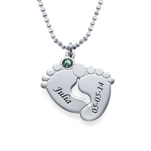 Personalized Baby Feet Necklace with Birthstones - 1
