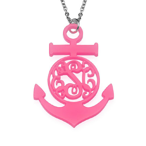 Acrylic Anchor Monogram Necklace - 1