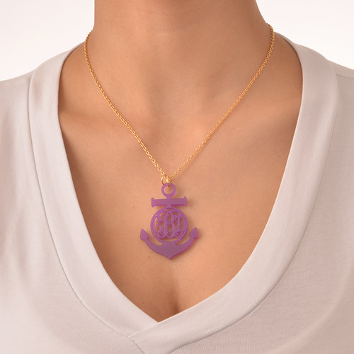 Acrylic Anchor Monogram Necklace - 2