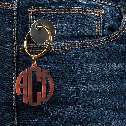 Acrylic Block Monogram Keychain with Gold Plated Key Ring - 1