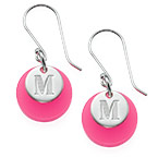 Acrylic Disc Earrings with Initial