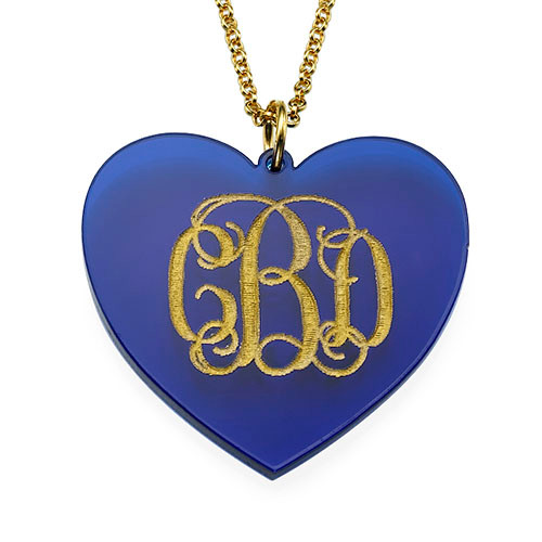 Acrylic Heart Necklace with Monogram - 1