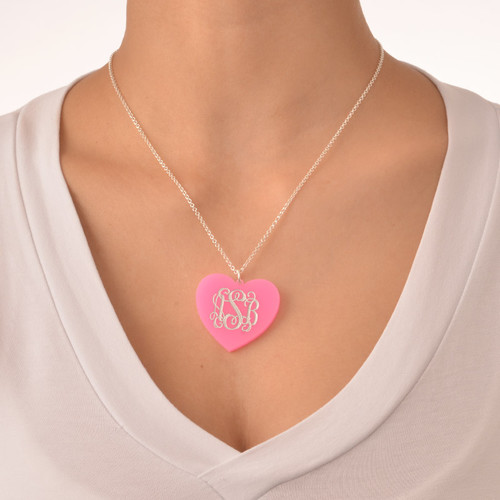 Acrylic Heart Necklace with Monogram - 2