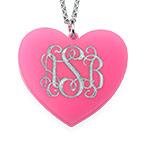Acrylic Heart Necklace with Monogram