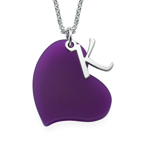 Acrylic heart necklace with silver initial charm for Acrylic letter necklace