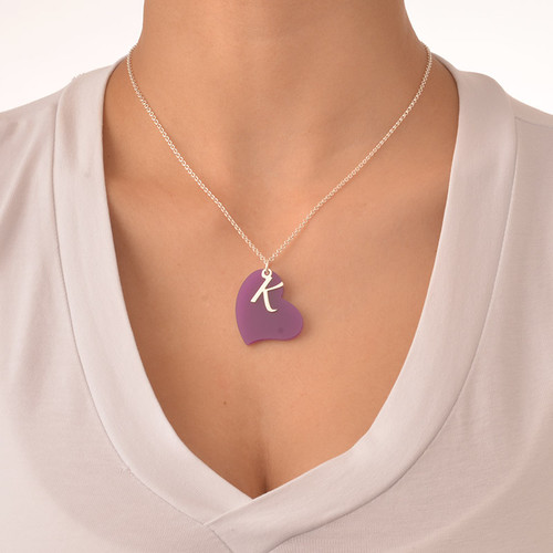 Acrylic Heart Necklace with Silver Initial Charm - 2
