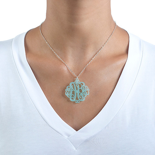 Acrylic Monogram Necklace with Closed Chain - 1