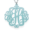 Acrylic Monogram Necklace with Closed Chain