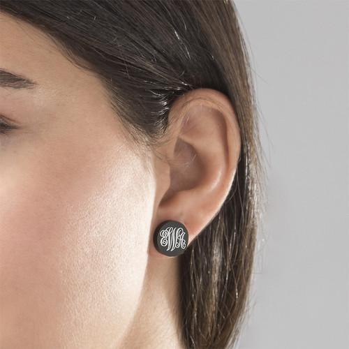 Acrylic Monogram Stud Earrings - 2