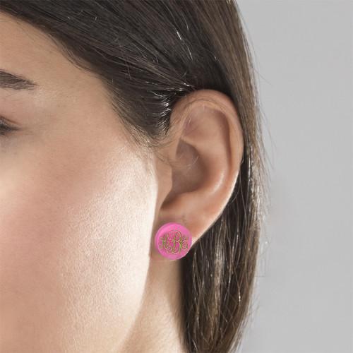 Acrylic Monogram Stud Earrings - 3