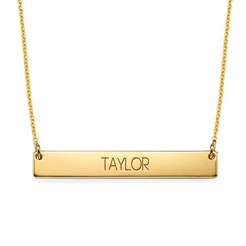 All Capitals Bar Necklace - Gold Plated