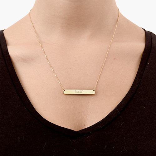 genuine gold bar index set plated layered necklace