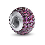 Amethyst Birthstone Bead with Cubic Zirconia