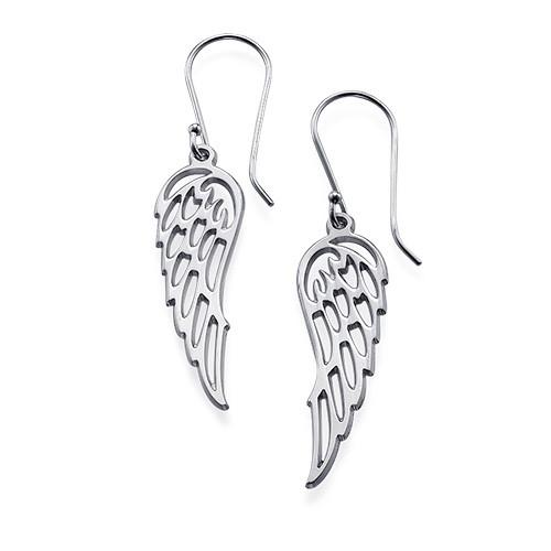 Angel Wing Earrings in Silver