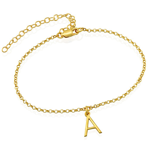 Ankle Bracelet with Initial in Gold Plating